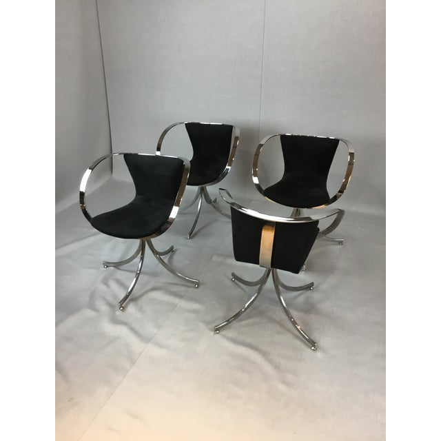 Modern Black & Chrome Swivel Chairs - Set of 4 For Sale - Image 4 of 4