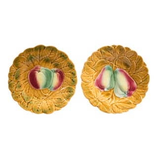 French Majolica Fruit Plates, Set of 2