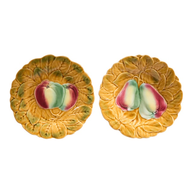 French Majolica Fruit Plates, Set of 2 For Sale