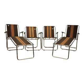 Vintage Original Zip Dee Folding Chairs with Brown Fabric - Set of 4