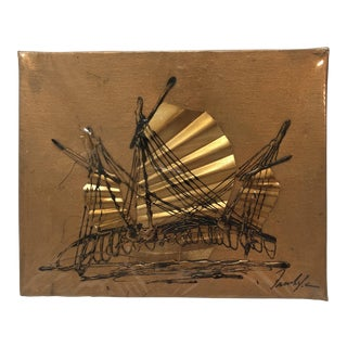 Signed Vintage Mixed Media Metallic Sailboat Painting on Canvas For Sale