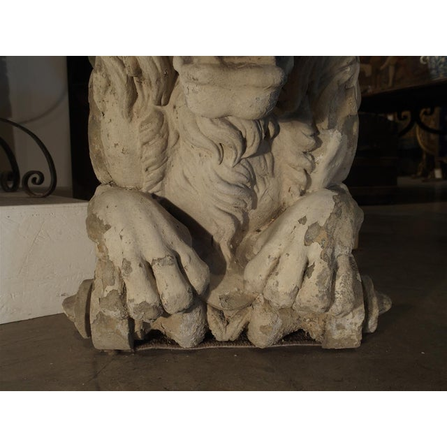 Magnificent Pair of Antique Stone French Lion Architecturals For Sale - Image 10 of 10