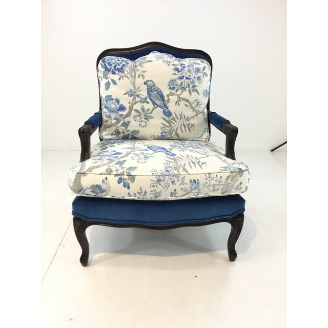Elegant Traditional Pearson Co. 1416 Chair and Ottoman, dark walnut finished wood frame with a contrasting royal blue...