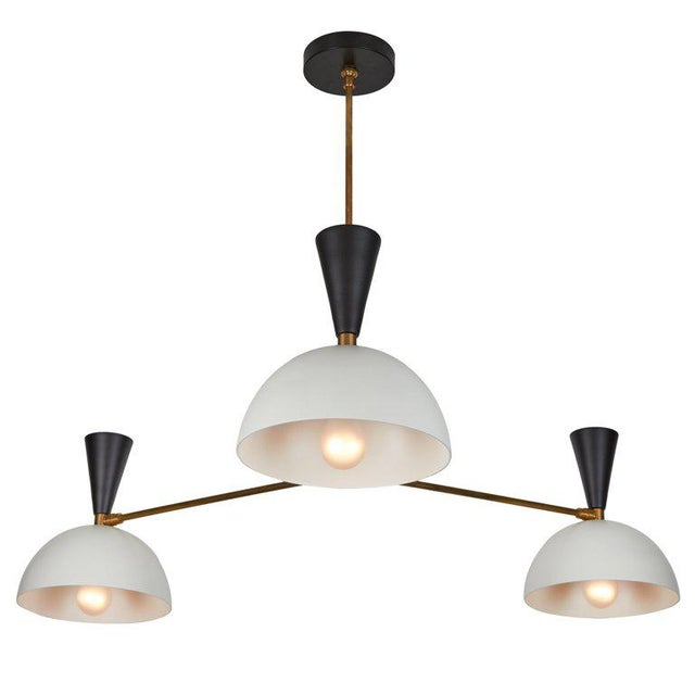 Large Three-Cone 'Lola Ii' Black and White Chandelier For Sale - Image 13 of 13