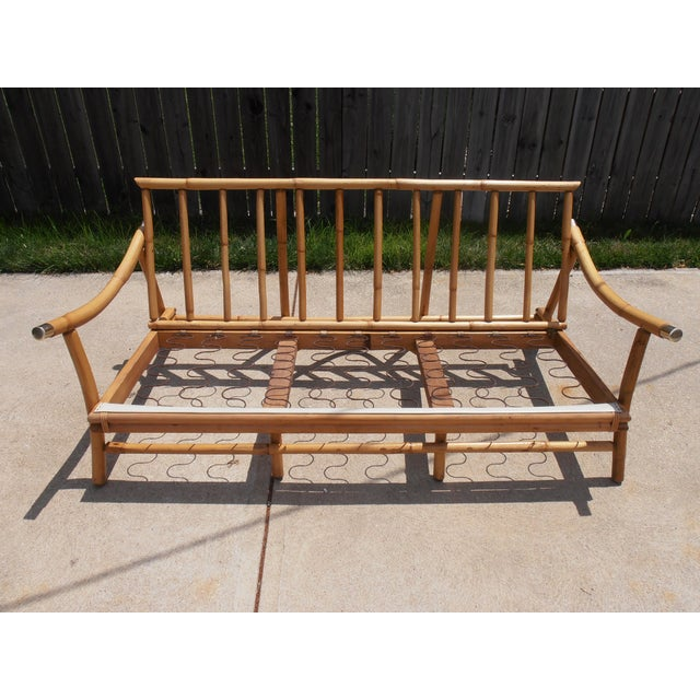 Boho Chic Vintage 3-Seater Bamboo Sofa For Sale - Image 3 of 4