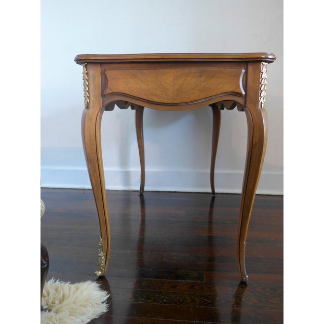 Brown 1960's Leather Top Writing Desk For Sale - Image 8 of 10