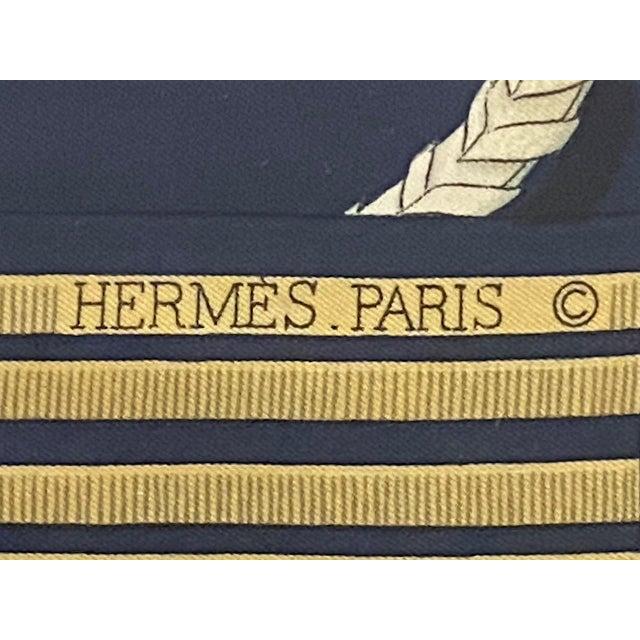 1970s Framed Vintage Hermes Scarf in Navy Blue and Gold For Sale - Image 5 of 9