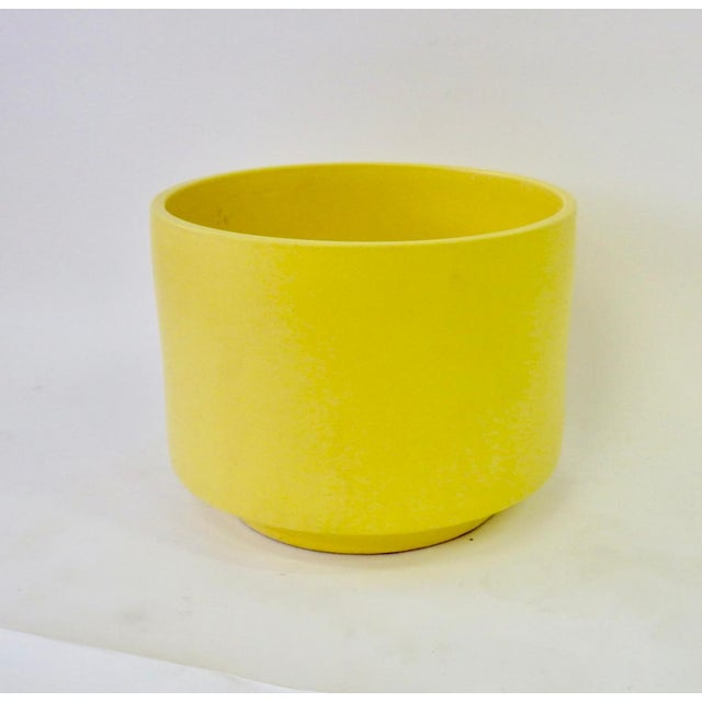 Large bright yellow Gainey planter pot.