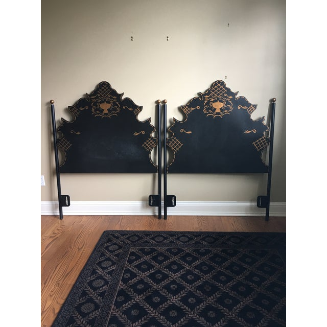 two Twin black tile hardboards. Headboards are painted with a gold urn in center and gold detail.