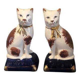 English Staffordshire Fits and Floyd Cat Salt and Pepper Shakers-a Pair For Sale