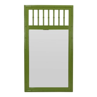 Mid Century Apple Green Faux Bamboo Mirror