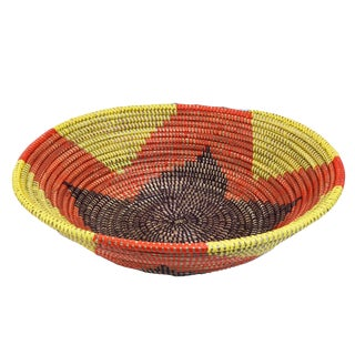 "Handmade Woven Wolof Basket From Senegal 16.5"" in Diameter For Sale"