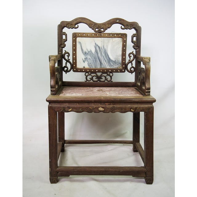 Asian Antique Chinese Marble & Carved Rosewood Chair For Sale - Image 3 of  11 - Antique Chinese Marble & Carved Rosewood Chair Chairish