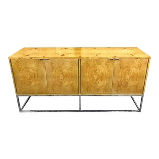 Milo Baughman Style Burlwood and Chrome Sideboard For Sale
