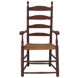 Red-Painted Ladder-Back Armchair For Sale