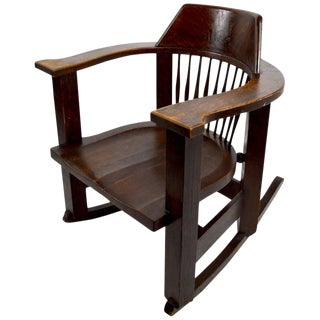 Massive Turn of the Century Oak Rocking Chair For Sale