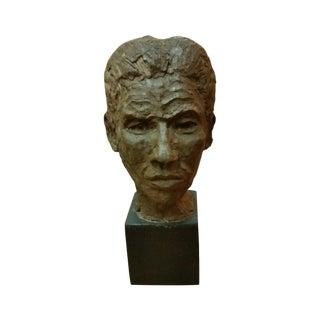 Mid Century Modern Clay Head Sculpture of a Man