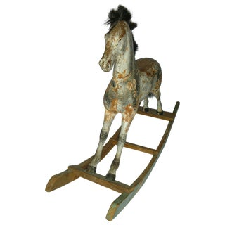 Antique Swedish Carved Wood Child Rocking Horse