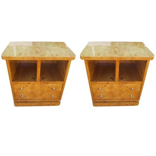 Pair of Contemporary Maple Art Deco Nightstands For Sale