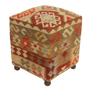 Ronni Tan/Rust Kilim Upholstered Handmade Ottoman
