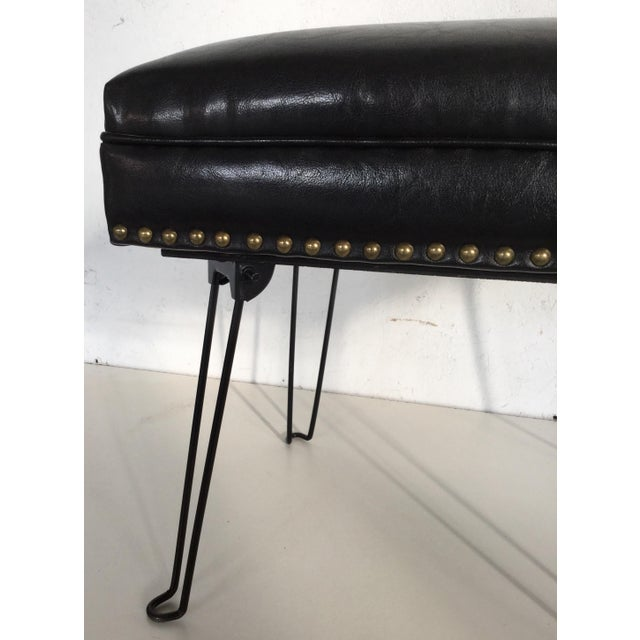 Mid-Century Modern Modern Black Leather Occasional Stool Folding Legs For Sale - Image 3 of 11