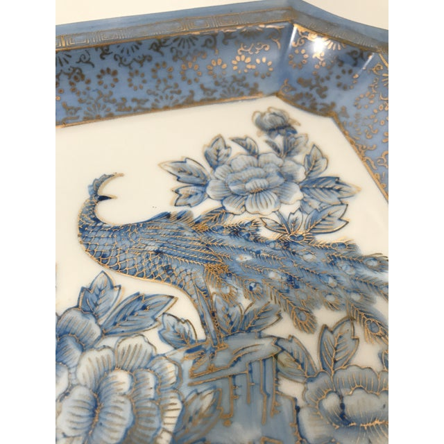 1980s Square Blue Porcelain Chinoiserie Dish For Sale - Image 5 of 6
