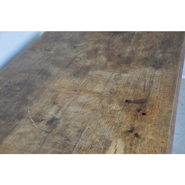 Vintage French Oak Farmhouse Dining Table For Sale - Image 10 of 12