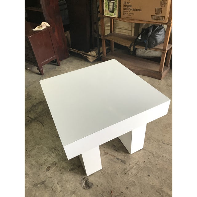 Mod White Laminate Parsons Side Table - Image 4 of 4