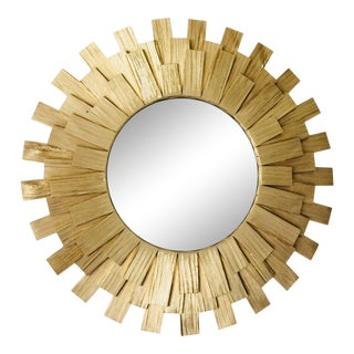 Sunburst Wall Mirror Handmade Golden Color Wooden