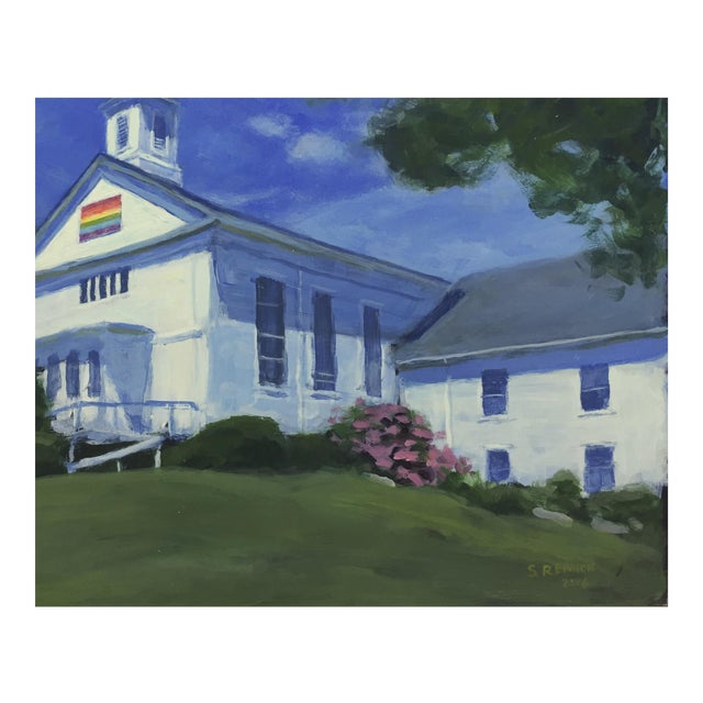 Original Painting of a New England Church - Image 1 of 5