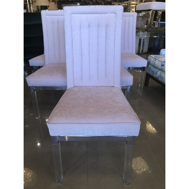 Charles Hollis Jones Charles Hollis Jones Lucite Dining Chairs - Set of 6 For Sale - Image 4 of 12