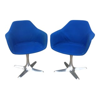 Vintage Saarinen Style Maurice Burke Blue Tulip Arm Chairs- A Pair For Sale