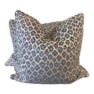 """Slate and Aqua Leopard Velvet on Linen 22"""" Pillows For Sale"""