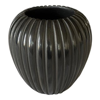 1980s Miana Pablita Santa Clara Black Melon Vase For Sale