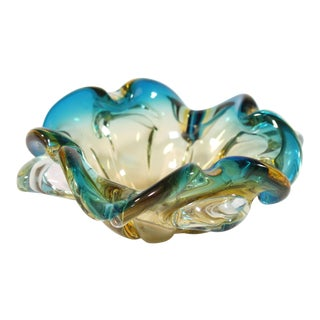 Citrine and Blue Murano Glass Bowl For Sale