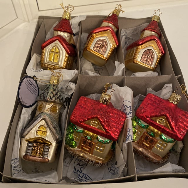 Adorable Inge Hand Blown Glass Ornaments decorated by hand. This ste includes Churches and Houses. Direct from Germany