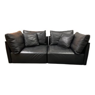 Minotti Milano Leather Two Piece Modular Sofa For Sale