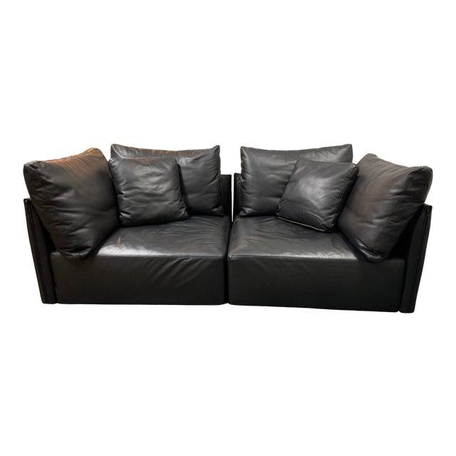 Minotti Milano Leather Two Piece Modular Sofa
