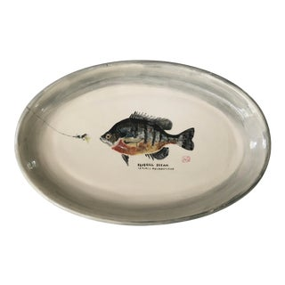 Vintage Hand Painted Ironstone Platter With Bluegill Bream Tray For Sale