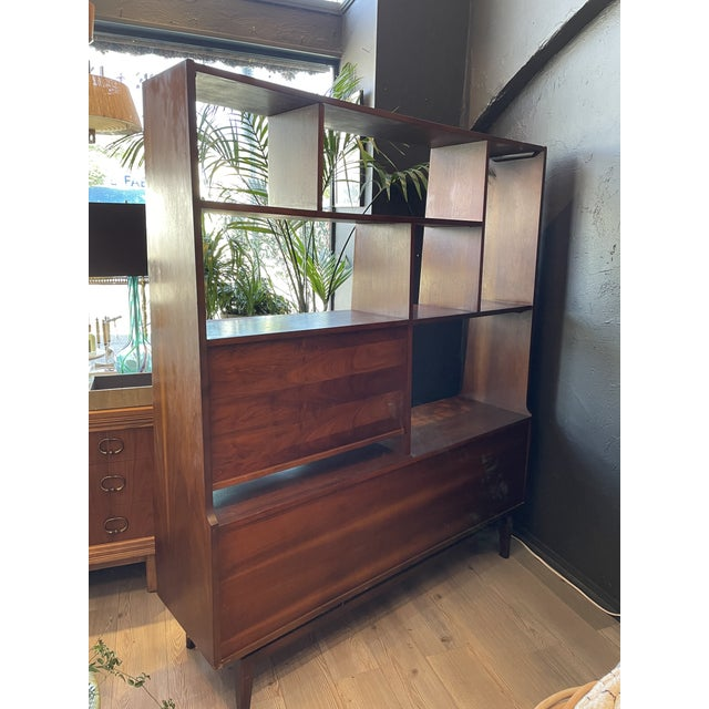 Brown Mid-Century Modern Danish Bookcase With Secretary Desk For Sale - Image 8 of 11