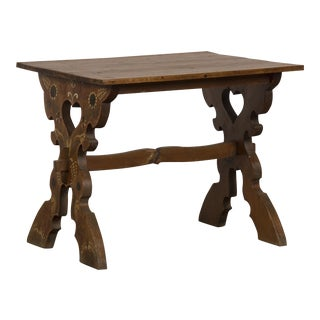 19th Century Austrian Fanciful Floral Motif Pine X Leg Trestle Table For Sale