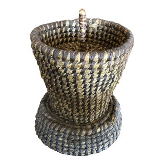 Antique French Basket With Lid For Sale