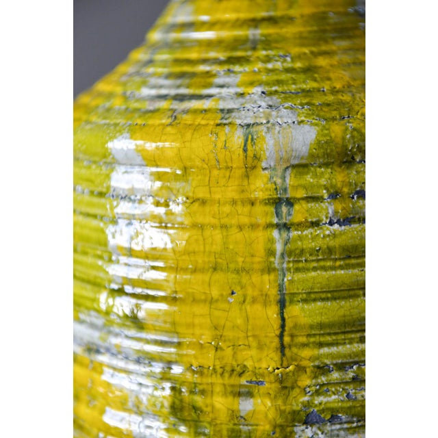 1970s Large Textured Ceramic Table Lamp, Circa 1975 For Sale - Image 5 of 8