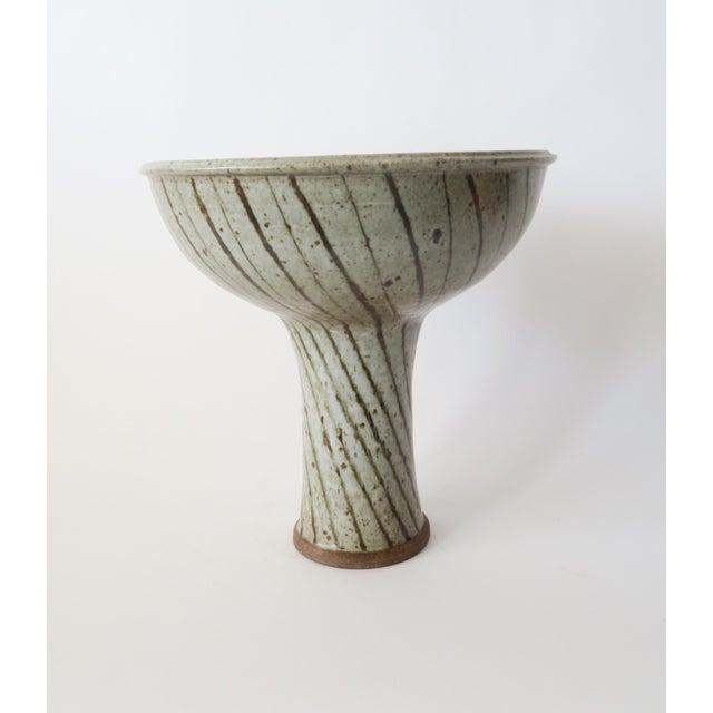 Studio Pottery Footed Compote. Striped design with greenish glaze. Signed on inside of base.