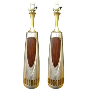 Pair of 1960s Brass Lamps by Laurel Lighting For Sale
