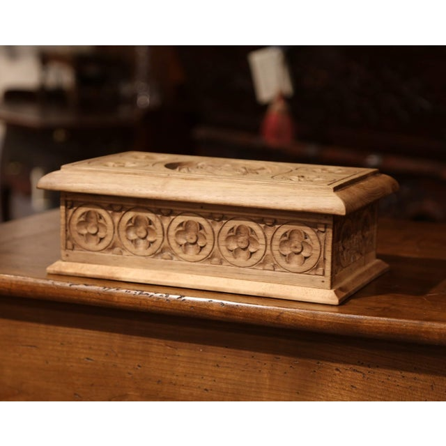 Brown Early 20th Century French Carved Chestnut Box From Brittany Signed E. Bayon For Sale - Image 8 of 10