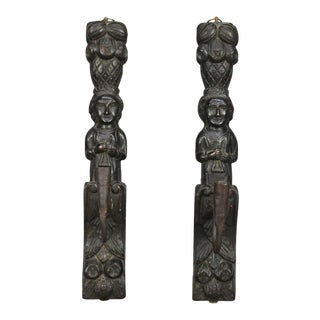 Early 18th Century Jacobean Tudor Figural Carved Oak & Hand Wrought Iron Wall Sconces - a Pair For Sale