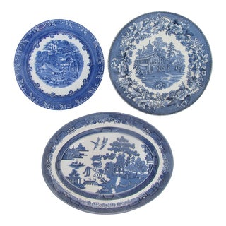 Antique English Blue & White Transferware Collection, Set of 3 For Sale