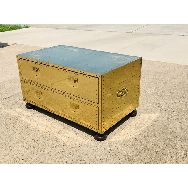1960s 1960s Campaign Brass Sarreid Two-Drawer Studded Low Chest of Drawers For Sale - Image 5 of 13