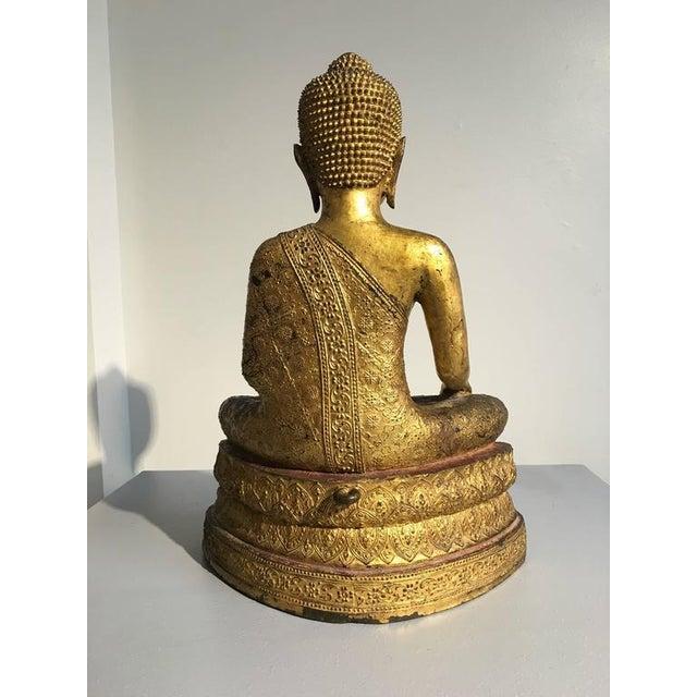 Thai Rattanakosin Lacquered Gilt Bronze Image of Buddha Maravijaya For Sale In Austin - Image 6 of 10